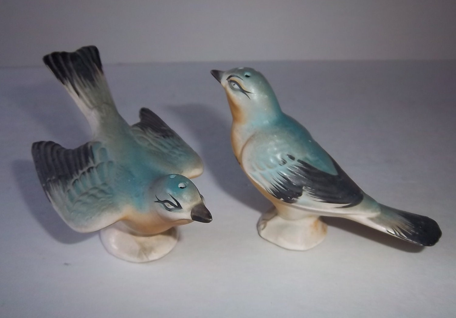 1930s Blue Bird Salt And Pepper Shakers Numbered