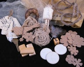 Inspiration kit for  mixed media, smash books, art journals, collage, scrapbooking - Sepia and creamy colors