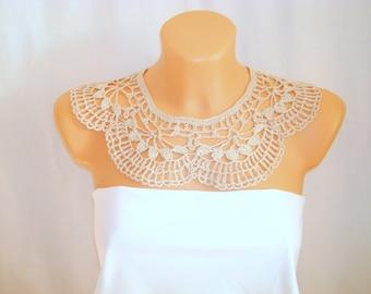 Beige lace floral crochet  dress collar Handmade detachable Peter Pan collar Bohemian necklace Summer Fashion Festival Wedding accessories