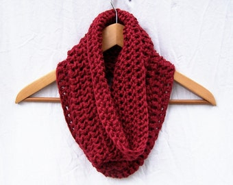 RED COWL SCARF Hand Crocheted Cowl Dark Red Neckwarmer Eternity Scarf Neck Warmer Circle Scarf