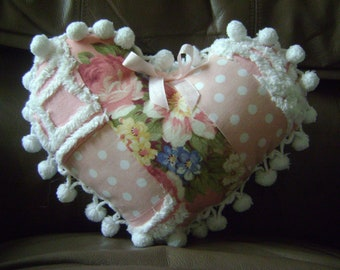 1940s Barkcloth Roses and Vintage Chenille Heart Pillow Cushion Vintage Ball Fringe and Hannah Bella Dotted Fabric Sweet and Shabby