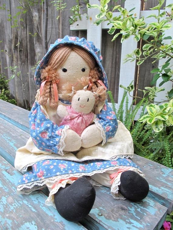 Vintage Cloth Doll, Hand Made Doll, Fabric Doll