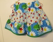 Toddler Twirly skirt, Girl's ruffled skirt, Girl's clothes, Ladybugs and daises, Spring / Summer, Cotton, Size 3