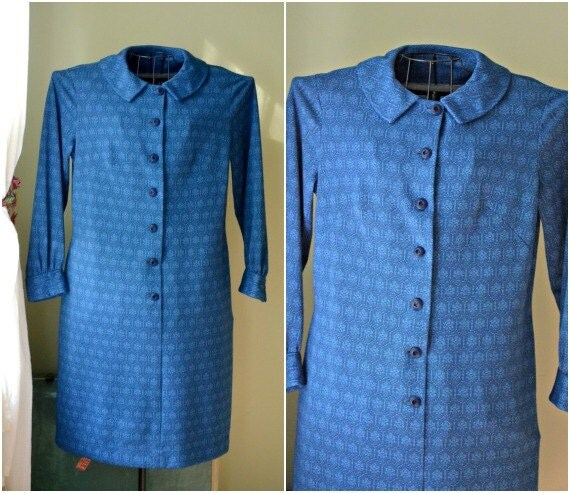 Vintage Blue Peter Pan Collar Dress - Large - 1960s