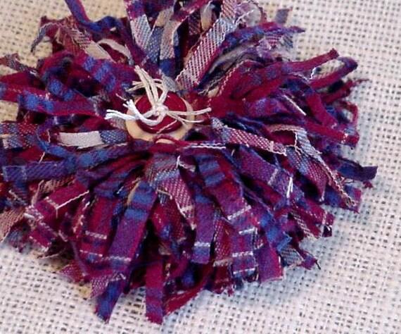 Shabby Lapel Pin Tattered Homespun Plaid Flower Original Brooch OOAK Gypsy Boho Pin itsyourcountry