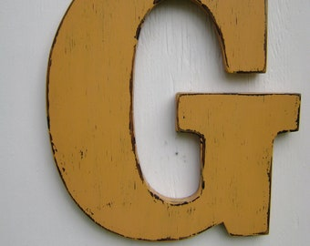 wood letters custom sign modern decor typography - painted butterscotch