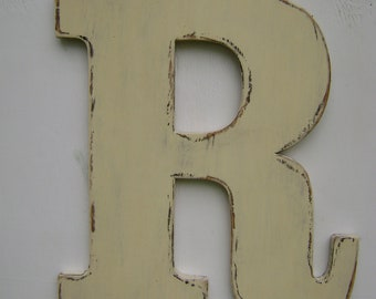 """Wedding Decor letter """"R"""" Rustic wooden letter 18"""" tall 3/4"""" thick home,cabin,cottage,beach house, baby nursery decor"""