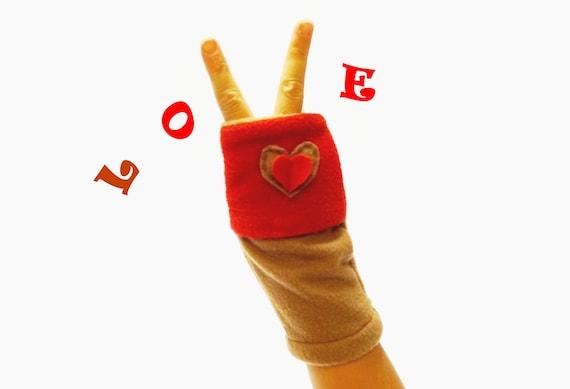 Typist Transcriber Fingerless Red Beige Gloves with Hand Warmers Pockets.