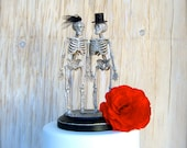 Halloween Wedding Cake Topper , Black and Silver Skeletons