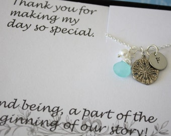 6 Bridesmaid Necklaces Personalized, Beach Wedding Gift, Sand Dollar Necklace, Bridesmaid Gift, Thank You Card, Monogram Necklace