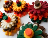 120 piece set - Harvest fall mix of felt flower kit felt flowers die cut outs in thanksgiving halloween christmas colors