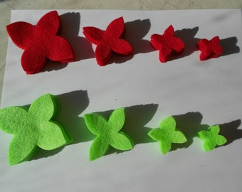 64 pieces Felt flower poinsettia set felt craft die cut felt Christmas flowers felt flower magnet supplies