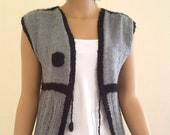 Knitting women vest, grey with a black chain and a flower Free Shipping
