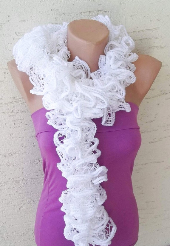 Ruffle scarf, womens ruffle scarf, womens accessories, valentines day gift, white scarf, ruffled scarf, gift for her