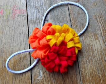 red yellow and orange felt fall cluster , headband , head band