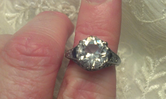 Reserved Antique Edwardian Era Engagement Ring Diamond Paste  Center Stone With Sapphire Accents