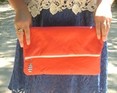 S.A.L.E. Red Vinyl Fold-Over Clutch with Royal Blue Lining and Striped Zipper Pull