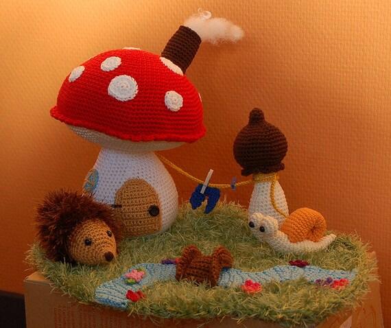 Free Kawaii Amigurumi Pattern : Amigurumi crochet house mushroom cottage with hedgehog snail