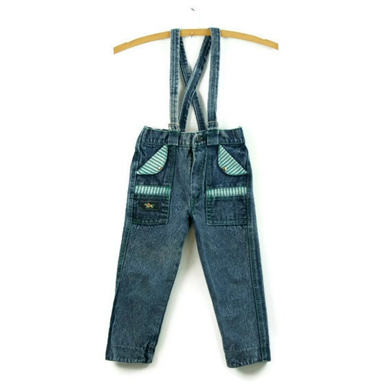 Vintage Jean Bib Less Dungarees with stripes 1980s