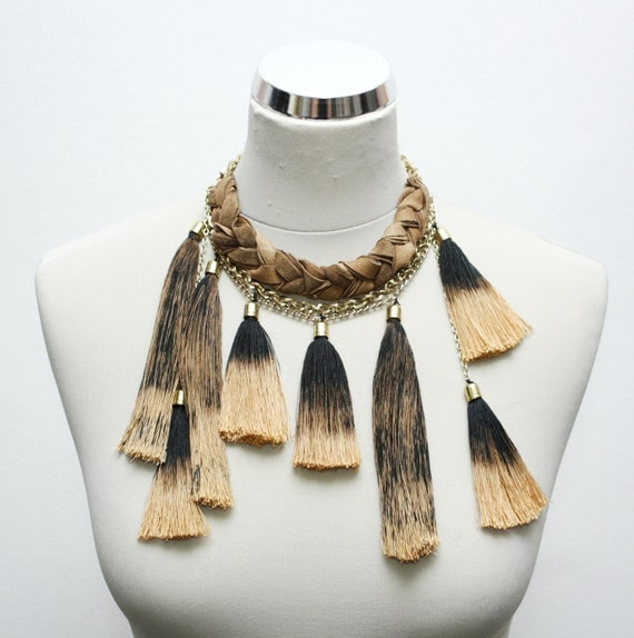 Reserved for Qianqian / Beige & Black tribal necklace