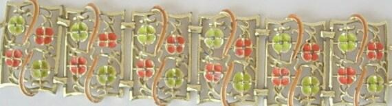 Mod Vintage Bracelet Lime Green Orange Enamel Flowers on Gold Tone Metal Links Wide Groovy Psychedelic Flower Power Funky Retro 1960s 1970s