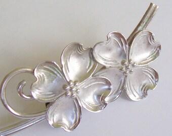 Vintage Brooch Double Flower Beau Sterling
