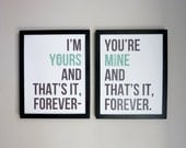 The Avett Brothers Custom Poster - Ballad Of Love & Hate Lyrics in Modern Typeface - Gray and Mint Green Print - TheOystersPearl