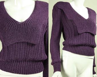 Vintage 1980s ROBERTA AND BRENDA Designer Unique Purple Knit Sweater Plum