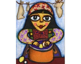 Girl Print, Folk Art, Girls Wall Decor, Art For Children, Gypsy Art, Primitive Art, Art For Women, Peeling Potatoes by Paula DiLeo