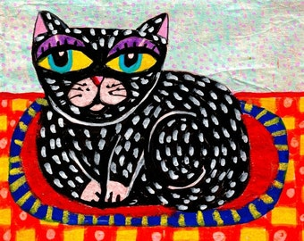 Whimsical Art, Cat, Folk Art Print, Black Cat, Cat Art, Girls Room Decor, Wall Art  by Paula DiLeo