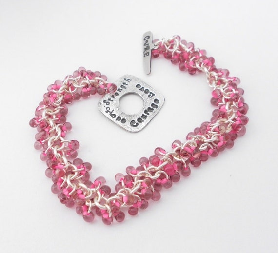 Breast Cancer Awareness Jewelry Metal Clay Pink Chainmaille