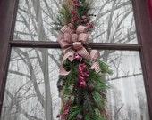 Primitive Country Christmas Door Swag Indoor Outdoor