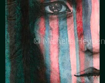 "Hanging Fine Art Metal Print-20"" x 16""- Colorful Striped Female Face- ""Arise"""