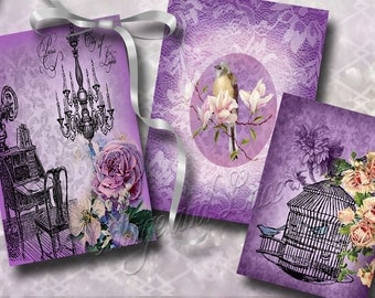 Purple Digital Collage Set, Purple Hang Tags, Purple Gift Tags,Lavendar Digital Download, Commercial, High Resolution  No. 710