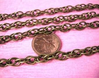 5 feet 7.5x5mm antique bronze rope chain lead nickel free-5561
