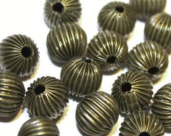 12pc 10mm antique bronze finish Corrugated Beads-5991