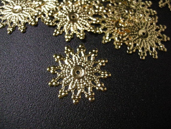 50pc 19mm gold finish filigree spacer/wrap-5756