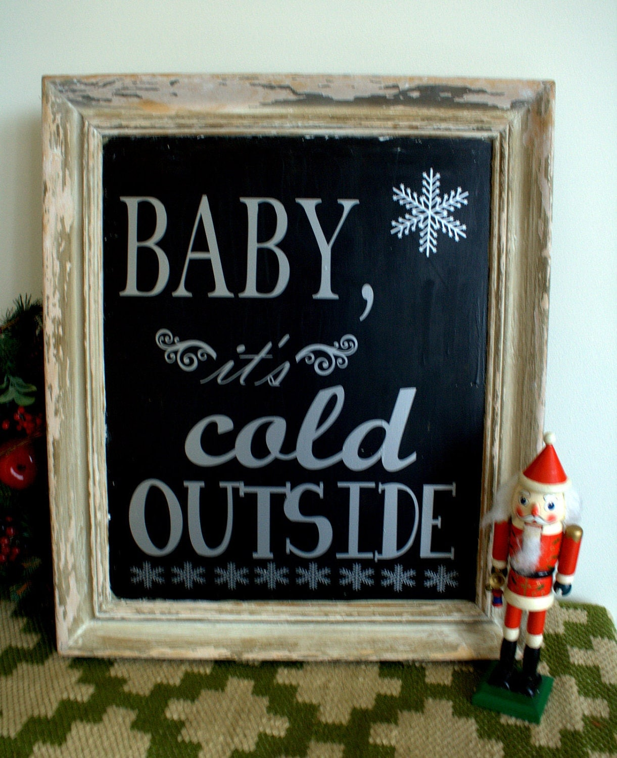 Baby It S Cold Outside Vintage Frame Chalkboard With