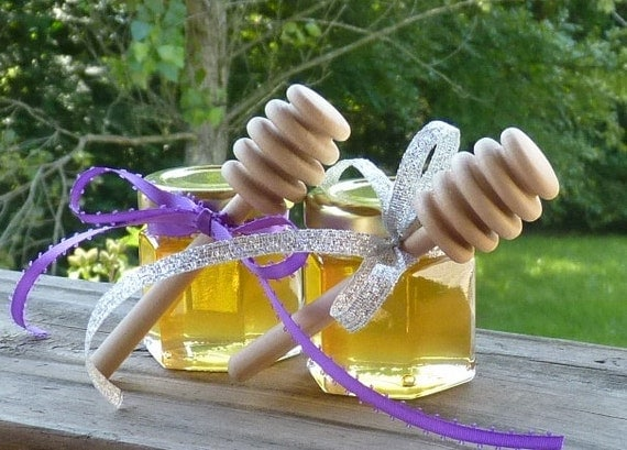 Wedding Favors, 100 Raw Wildflower Honey 2oz Jars, Raw Honey, Medicinal, Tennessee Wildflower Wood Dippers
