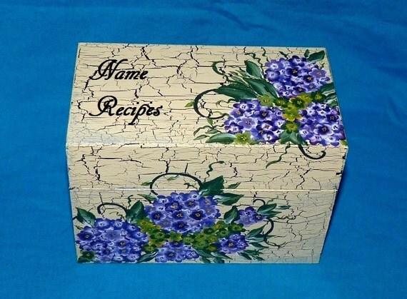 Hand Painted Recipe Box- Hydrangeas, Wood Recipe Box, Purple, Distressed, Personalized, Decorative Wood Box, Recipe Box, Black Crackle