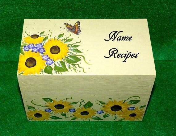 Hand Painted Recipe Box Personalized Sunflower Recipe Card Holder Decorative Custom Wooden 4x6 Recipe Box Wood Wedding Bridal Shower Gift