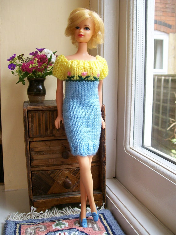 Barbie clothes - blue and yellow short sleeved dress with pink flowers
