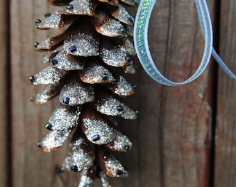 Sparkly Pine Cone Ornaments