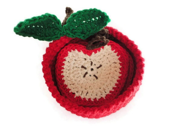 Apple slice coasters with red crochet apple basket bowl