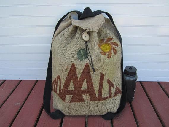 Coffee Burlap Knapsack Backpack Bag