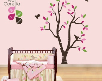 "Baby Nursery Wall Decals - White Tree Wall Decal - Tree Wall Decals - Large: approx 73"" x 57"" - K030"
