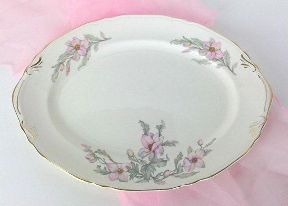 Lovely Vintage Pink Floral Serving Platter Crown Potteries CRP11 Gold Trim