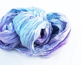 French viola -  lavender, light purple, lilac, light blue, turquoise silk scarf.