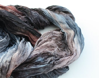 silk scarf - Anna Karenina -  brown, light brown, grey, dark grey, blue, teel silk scarf.