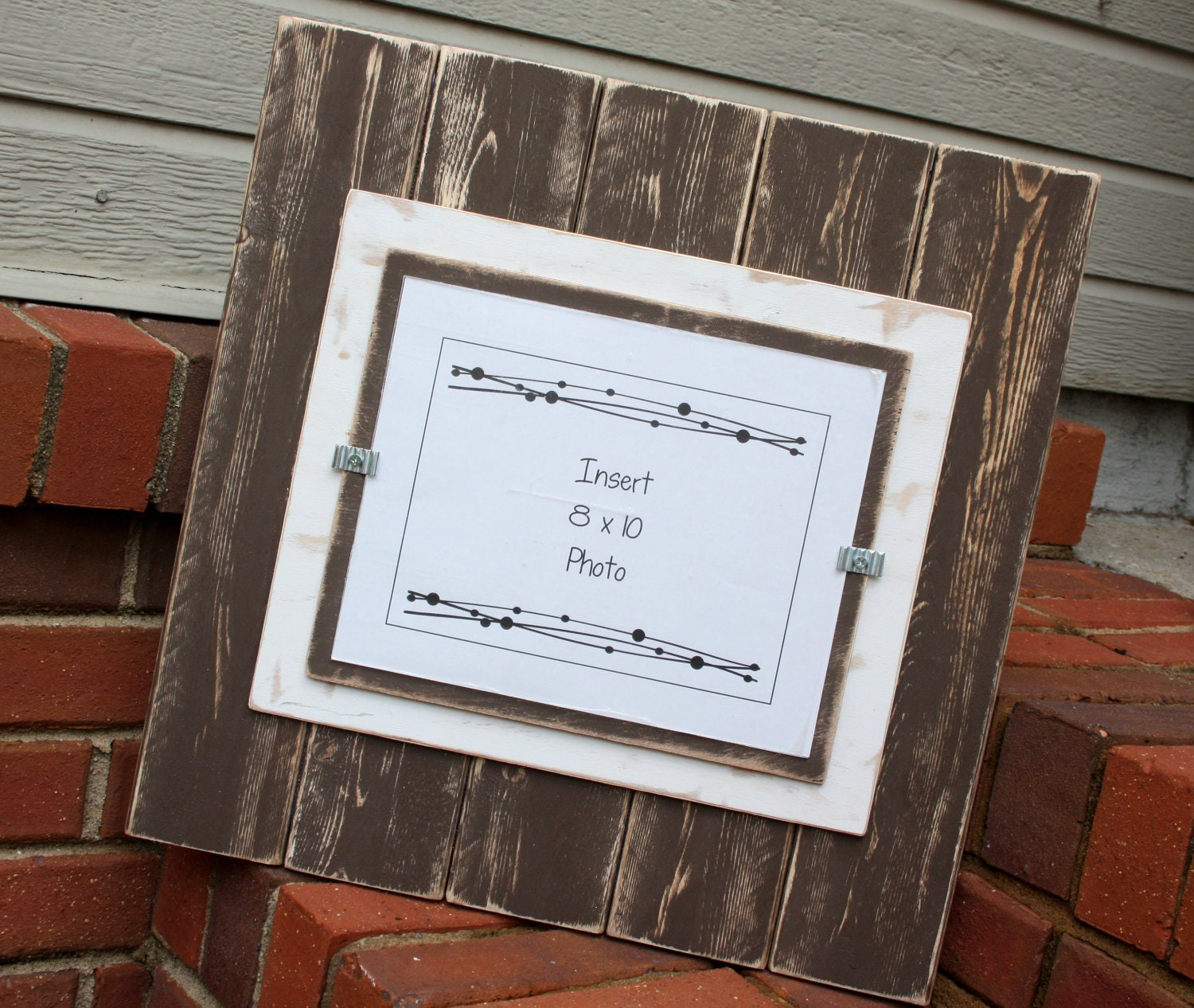 Picture Frame Distressed Wood Holds An 8x10 Photo Double